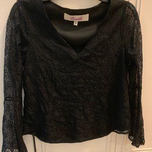 Black lace long sleeve v-neck blouse